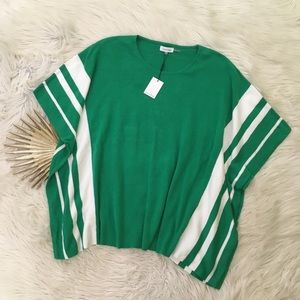 🍀Calvin Klein🍀Green Striped Poncho Style Sweater